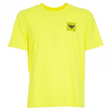 T-shirt con logo in gomma applicato GIALLO FLUO