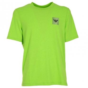 T-shirt con logo in gomma applicato VERDE FLUO