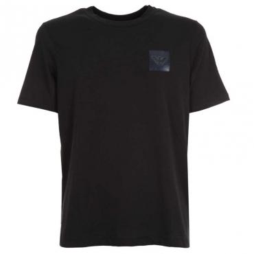 T-shirt con logo in gomma applicato BLU NAVY