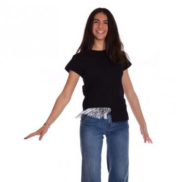 T-shirt frange fondo NERO