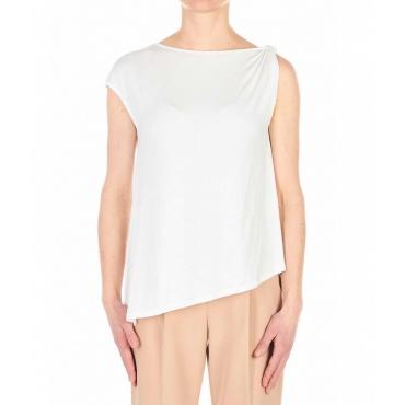 T-shirt con fondo assimmetrico bianco