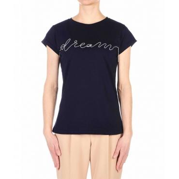 T-shirt con applicazione strass blu scuro