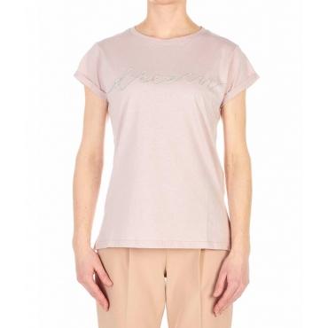 T-shirt con applicazione strass rosa antico