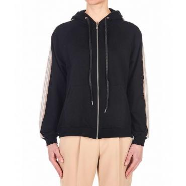 Zipped hoodie con applicazione strass nero