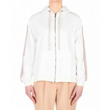 Zipped hoodie con applicazione strass bianco