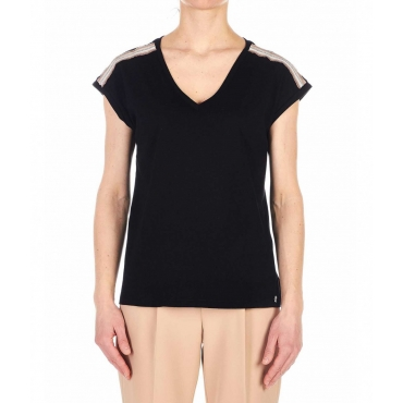 T-shirt con applicazione strass nero
