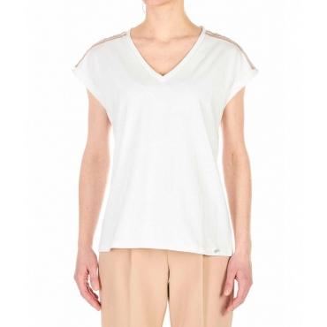 T-shirt con applicazione strass crema
