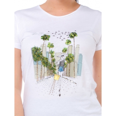 Patrizia Pepe T Shirt Manica Corta Donna Bianco