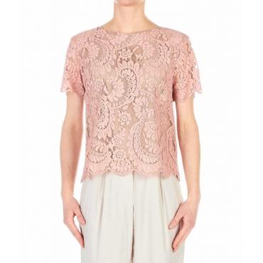T-shirt in pizzo rosa antico