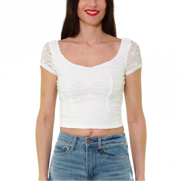 TOP CROPPED IN PIZZO STRETCH BIANCO