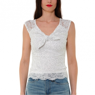 TOP IN PIZZO STAMPA POIS BIANCO