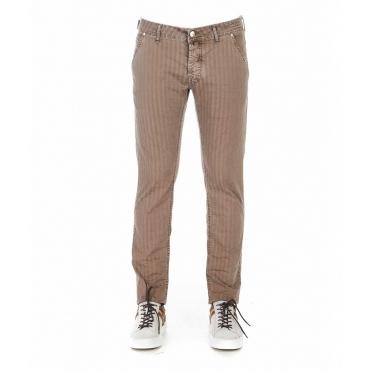 Pantaloni a righe marrone