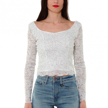 TOP MANICA LUNGA IN PIZZO STRETCH STAMPA POIS BIANCO