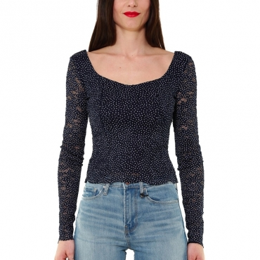TOP MANICA LUNGA IN PIZZO STRETCH STAMPA POIS NERO