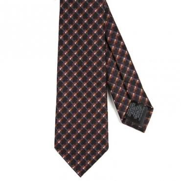 Cravatta a quadri nera arancio e bordeaux
