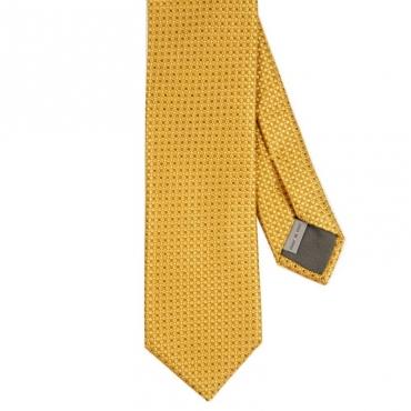 Cravatta in seta a trama geometrica GIALLO