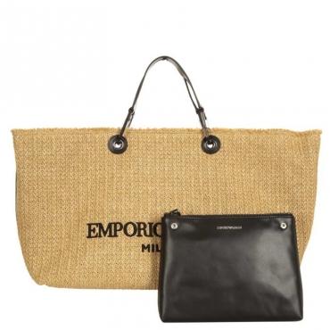 Shopping bag XL Cocco morbida NATURALE/NERO/NERO