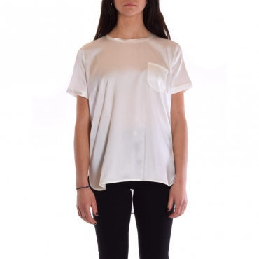 T-shirt mezza manica seta stretch con taschino BIANCO
