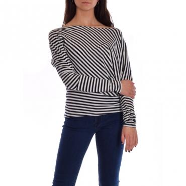 T-shirt manica 3/4 asimmetrica righe BIANCO/BLU