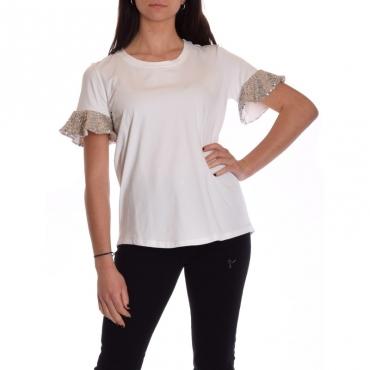 T-shirt manica balza con paillettes BIANCO