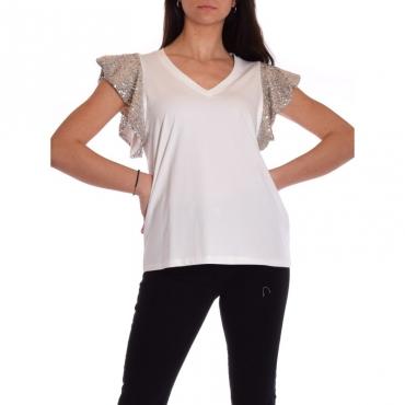 T-shirt mezza manica con paillettes BIANCO