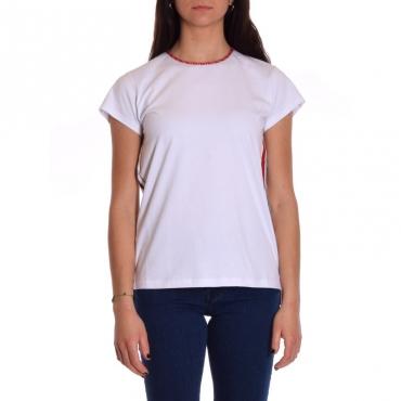 T-shirt con banda e coulisse BIANCO