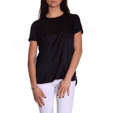 T-shirt mezza manica seta stretch con taschino NERO