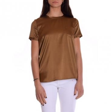 T-shirt mezza manica seta stretch con taschino MILITARE