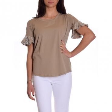 T-shirt manica balza con paillettes BEIGE