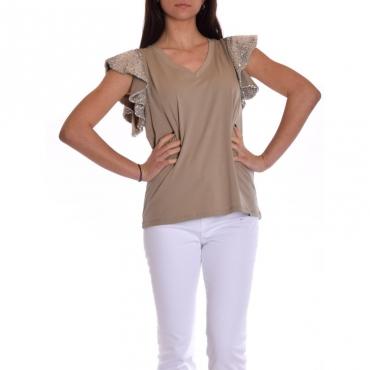 T-shirt mezza manica con paillettes BEIGE
