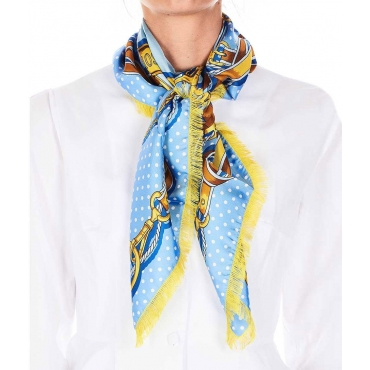 Foulard in seta con sfondo sfrangiato azzurro