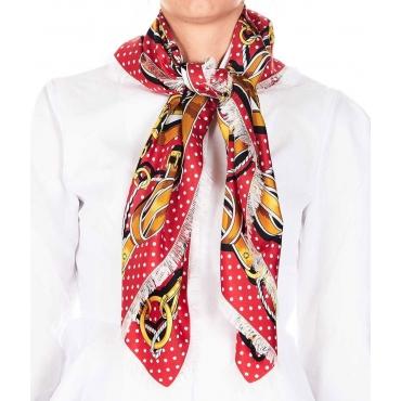 Foulard in seta con sfondo sfrangiato rosso