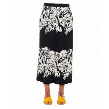 Pantaloni con stampa floreale nero