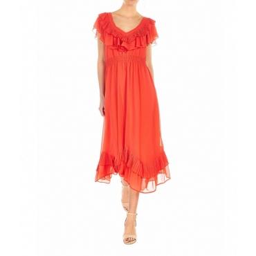 Vestito plissetato arancione