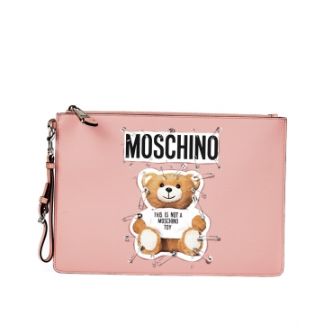 BUSTINA POCHETTE SAFETY PIN TEDDY ROSA