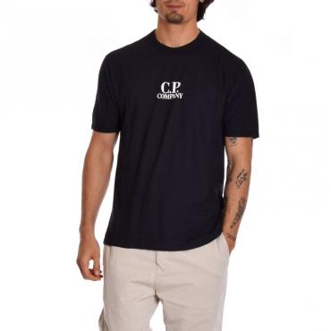 T-shirt logo cotone BLU