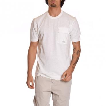 T-shirt basica con tascone BIANCO