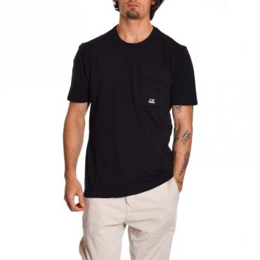 T-shirt basica con tascone NERO