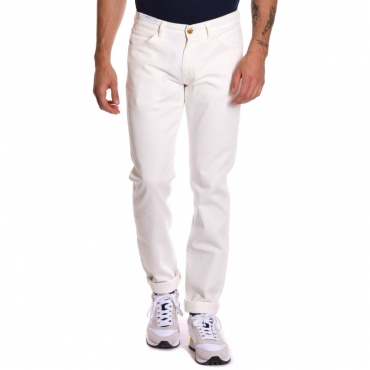 Pantalone slim lavato BIANCO