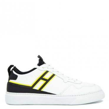Sneakers in cuoio con logo fluo B001+B999