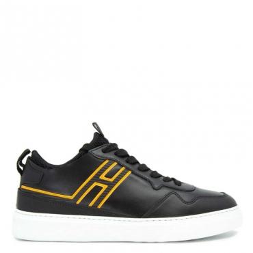 Sneakers in cuoio con logo fluo B999+ROSSO