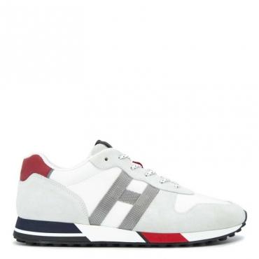 Sneakers H383 in cuoio e tessuto con dettagli rossi B001+R401+B6