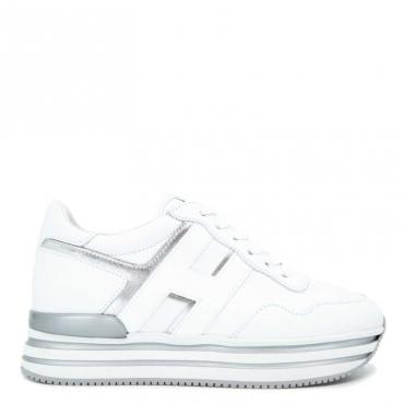 Sneakers in cuoio bianche e argento Midi H222 B001+B200