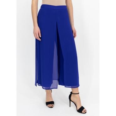 Pantalone largo bluette con velo