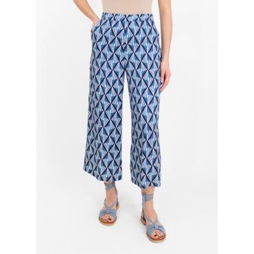Pantalone cropped fantasia geometrica BLU DELAVE