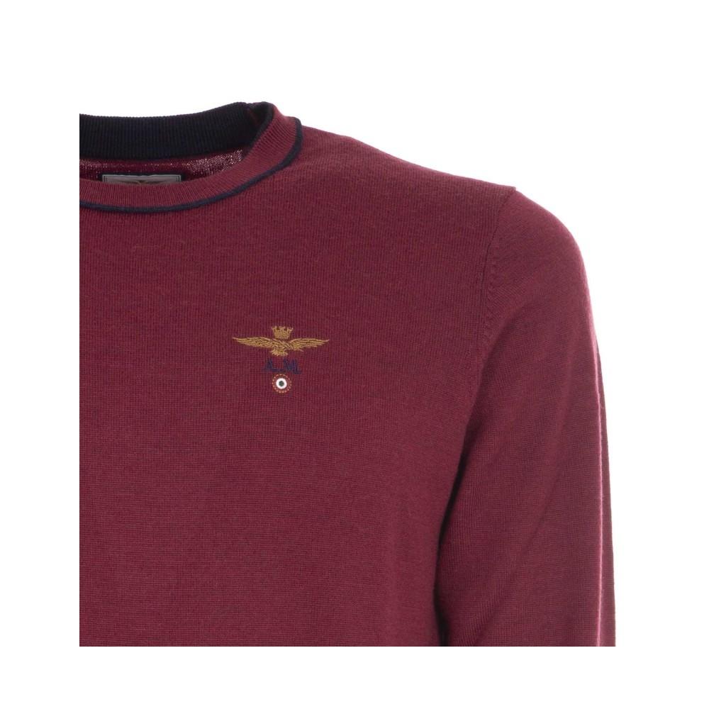 Pullover in lana con logo ricamato 19240ROSSO