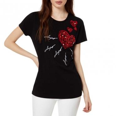 T-shirt nera con stampa cuore 22222NERO