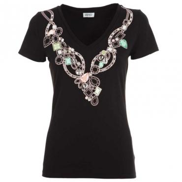 T-shirt con gioielli incastonati V9362NERONEC