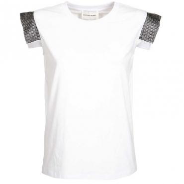 T-shirt Maputo con maniche borchiate WHITE