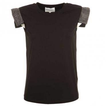 T-shirt Maputo con maniche borchiate BLACK